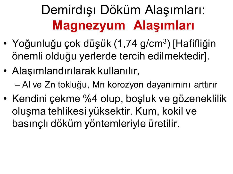 Demirdışı Döküm Alaşımları: Magnezyum Alaşımları Yoğunluğu çok düşük (1,74 g/cm 3 ) [Hafifliğin önemli olduğu yerlerde tercih edilmektedir]. Alaşımlan