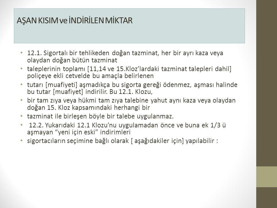 AŞAN KISIM ve İNDİRİLEN MİKTAR 12.1.
