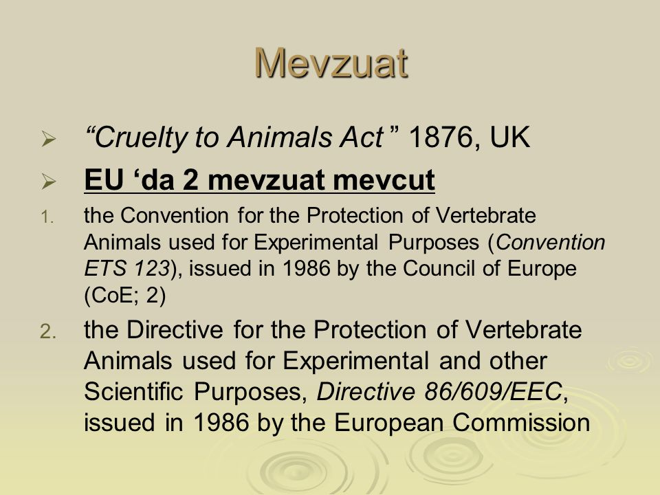 Mevzuat   Cruelty to Animals Act 1876, UK   EU 'da 2 mevzuat mevcut 1.