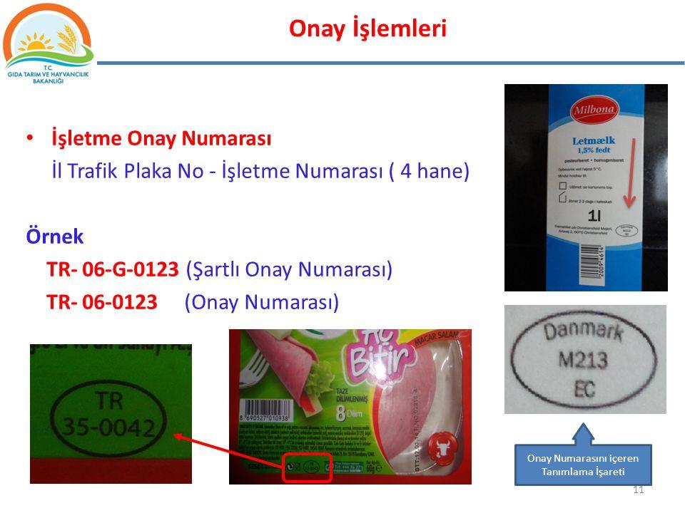 İşletme Onay Numarası İl Trafik Plaka No - İşletme Numarası ( 4 hane) Örnek TR- 06-G-0123 (Şartlı Onay Numarası) TR- 06-0123 (Onay Numarası) 11 Onay N