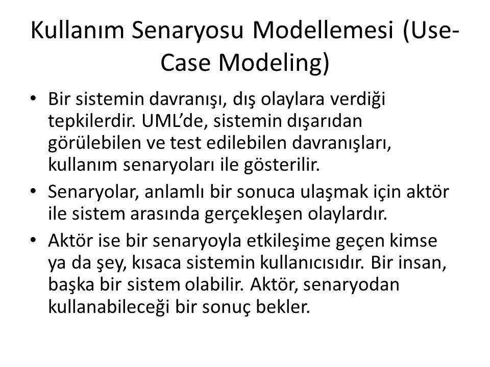 Kullanım Senaryosu Modellemesi (Use- Case Modeling) Bir sistemin davranışı, dış olaylara verdiği tepkilerdir. UML'de, sistemin dışarıdan görülebilen v