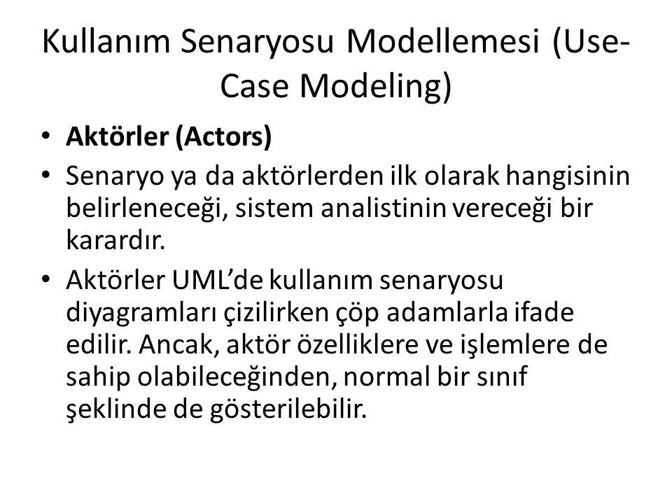 Kullanım Senaryosu Modellemesi (Use- Case Modeling) Aktörler (Actors) Senaryo ya da aktörlerden ilk olarak hangisinin belirleneceği, sistem analistini