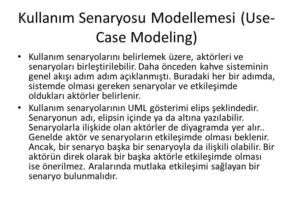 Kullanım Senaryosu Modellemesi (Use- Case Modeling) Kullanım senaryolarını belirlemek üzere, aktörleri ve senaryoları birleştirilebilir. Daha önceden