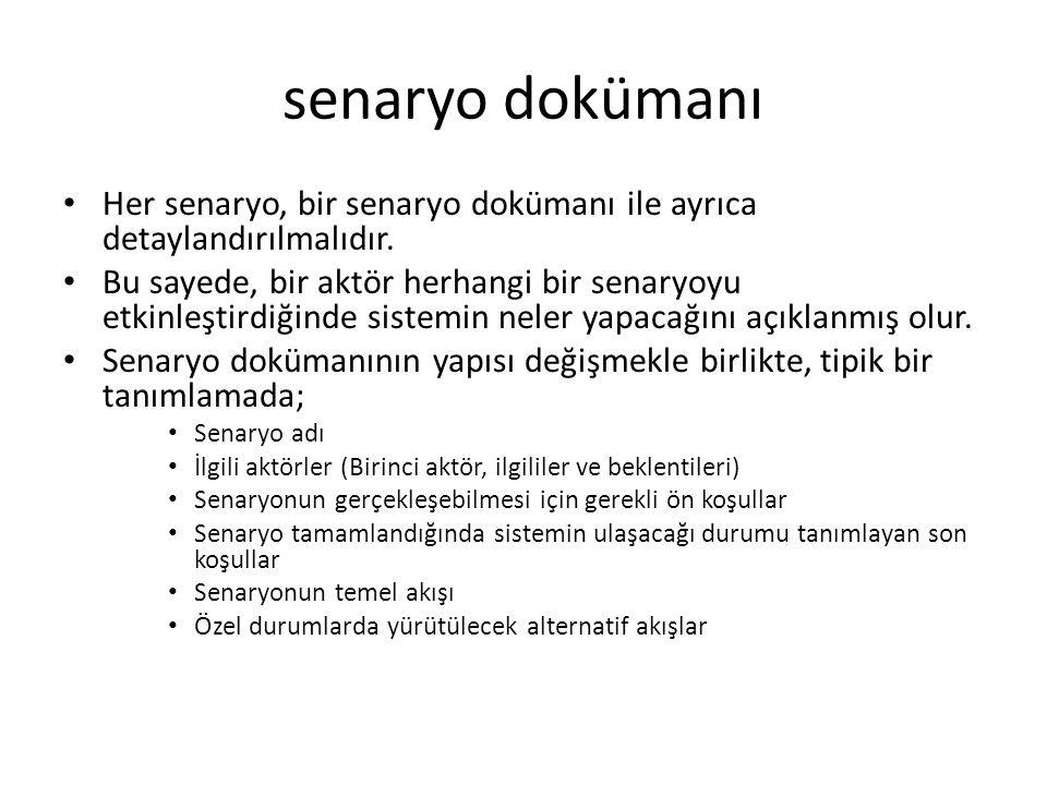 senaryo dokümanı Her senaryo, bir senaryo dokümanı ile ayrıca detaylandırılmalıdır. Bu sayede, bir aktör herhangi bir senaryoyu etkinleştirdiğinde sis