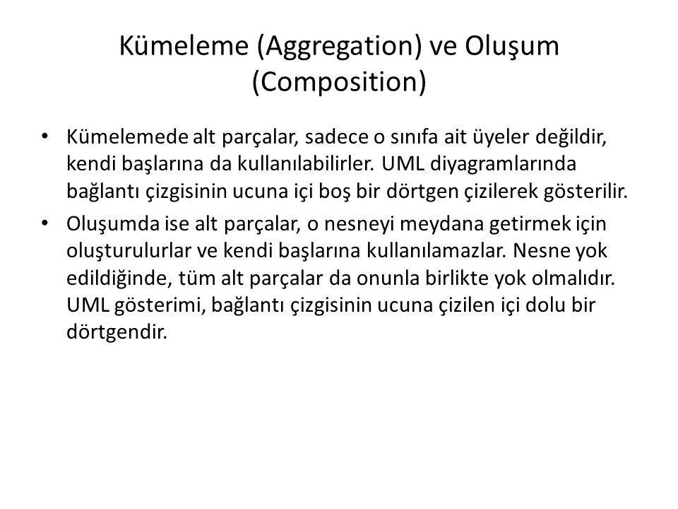 Kümeleme (Aggregation) ve Oluşum (Composition) Kümelemede alt parçalar, sadece o sınıfa ait üyeler değildir, kendi başlarına da kullanılabilirler. UML