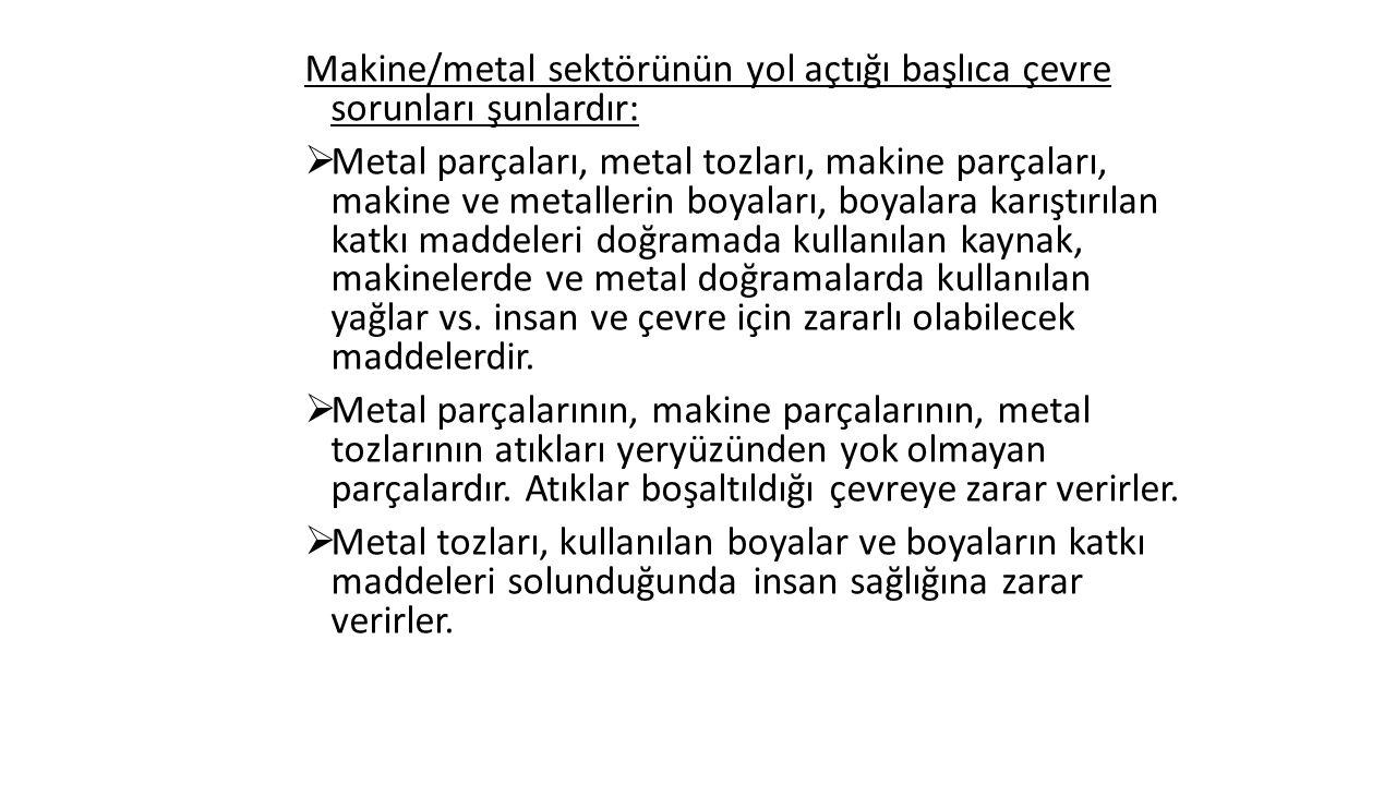 Makine/metal sektörünün yol açtığı başlıca çevre sorunları şunlardır:  Metal parçaları, metal tozları, makine parçaları, makine ve metallerin boyaları, boyalara karıştırılan katkı maddeleri doğramada kullanılan kaynak, makinelerde ve metal doğramalarda kullanılan yağlar vs.