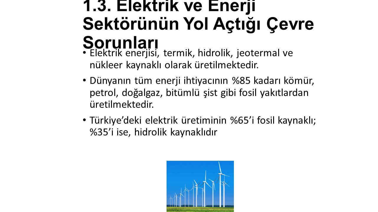 1.3. Elektrik ve Enerji Sektörünün Yol Açtığı Çevre Sorunları Elektrik enerjisi, termik, hidrolik, jeotermal ve nükleer kaynaklı olarak üretilmektedir
