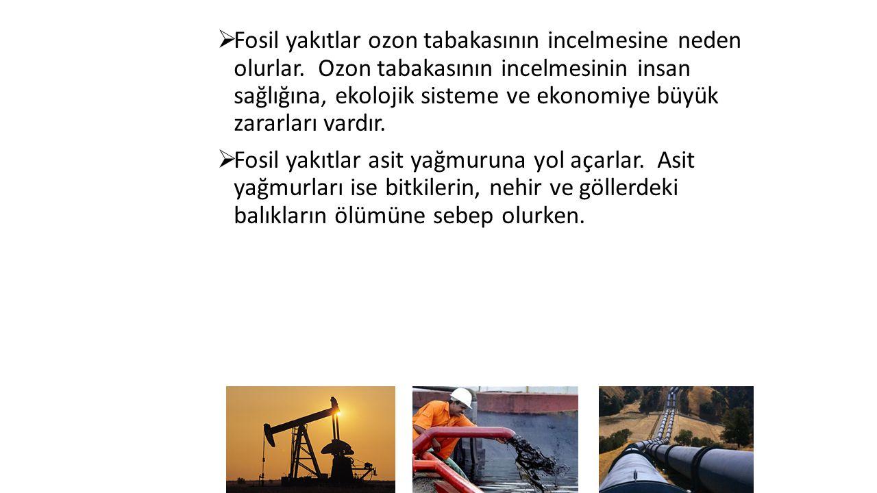  Fosil yakıtlar ozon tabakasının incelmesine neden olurlar.
