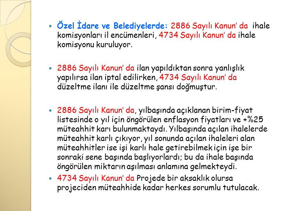 Özel İdare ve Belediyelerde: 2886 Sayılı Kanun' da ihale komisyonları il encümenleri, 4734 Sayılı Kanun' da ihale komisyonu kuruluyor.