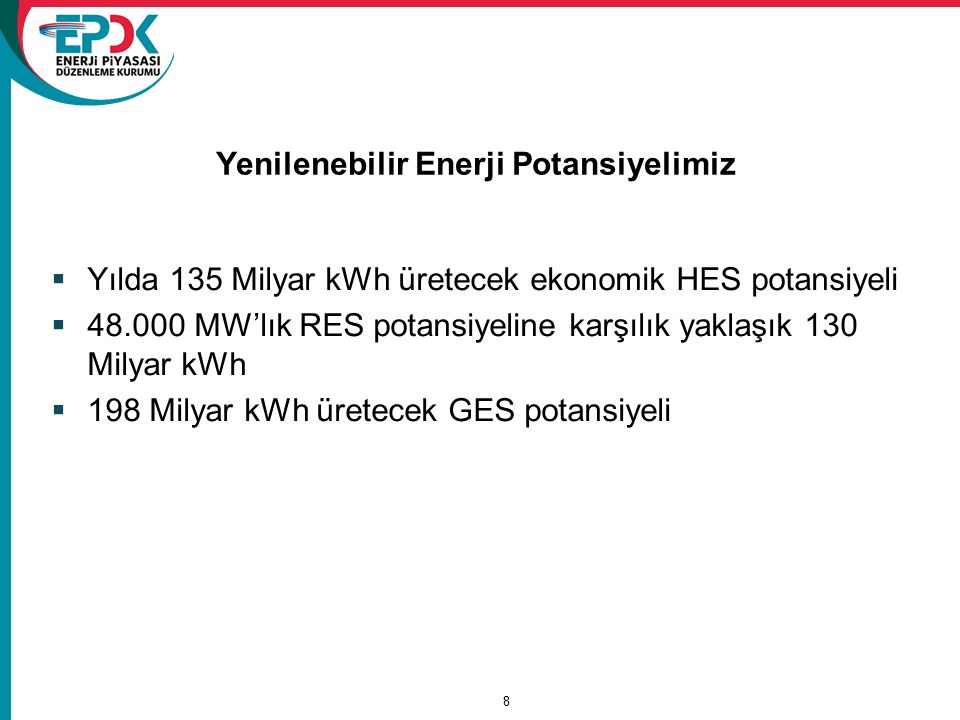 8 Yenilenebilir Enerji Potansiyelimiz  Yılda 135 Milyar kWh üretecek ekonomik HES potansiyeli  48.000 MW'lık RES potansiyeline karşılık yaklaşık 130 Milyar kWh  198 Milyar kWh üretecek GES potansiyeli