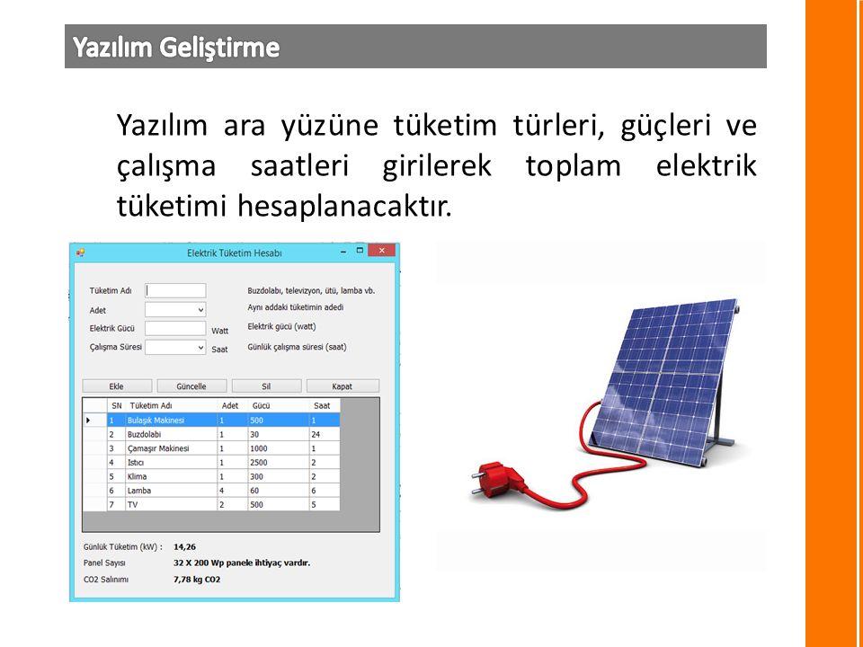 Yazılım ara yüzüne tüketim türleri, güçleri ve çalışma saatleri girilerek toplam elektrik tüketimi hesaplanacaktır.
