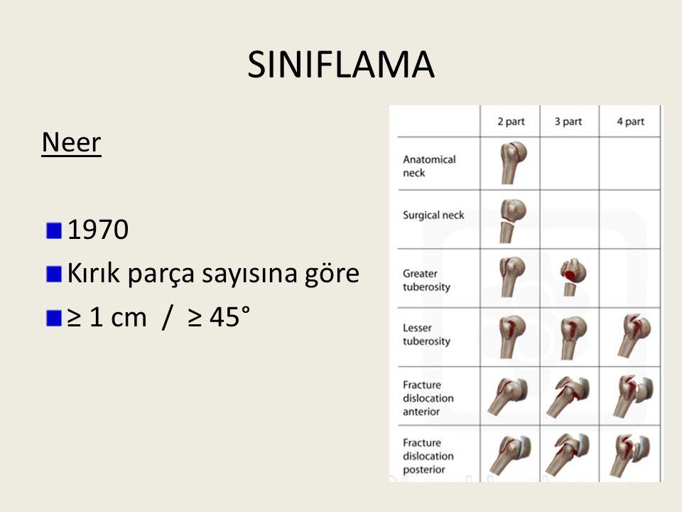 SINIFLAMA Neer 1970 Kırık parça sayısına göre ≥ 1 cm / ≥ 45°