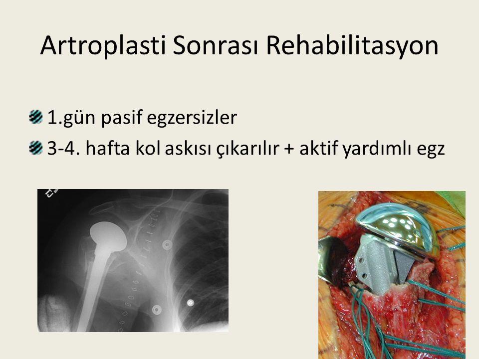 Artroplasti Sonrası Rehabilitasyon 1.gün pasif egzersizler 3-4. hafta kol askısı çıkarılır + aktif yardımlı egz