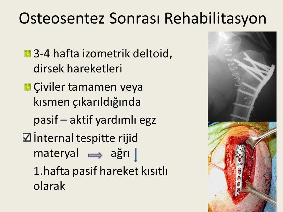 Osteosentez Sonrası Rehabilitasyon 3-4 hafta izometrik deltoid, dirsek hareketleri Çiviler tamamen veya kısmen çıkarıldığında pasif – aktif yardımlı e