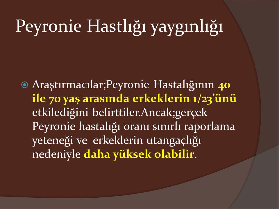 Peyronie Hastlığı yaygınlığı  Araştırmacılar;Peyronie Hastalığının 40 ile 70 yaş arasında erkeklerin 1/23'ünü etkilediğini belirttiler.Ancak;gerçek P