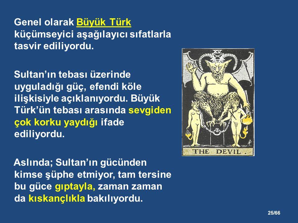 25/66 Genel olarak Büyük Türk küçümseyici aşağılayıcı sıfatlarla tasvir ediliyordu.