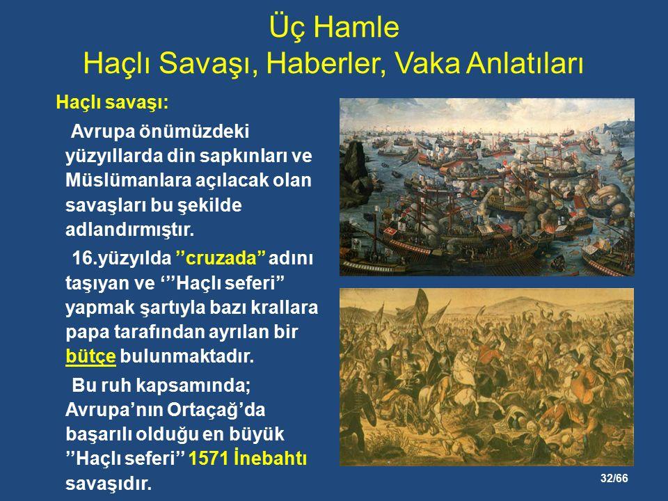 32/66 Üç Hamle Haçlı Savaşı, Haberler, Vaka Anlatıları Haçlı savaşı: Avrupa önümüzdeki yüzyıllarda din sapkınları ve Müslümanlara açılacak olan savaşları bu şekilde adlandırmıştır.