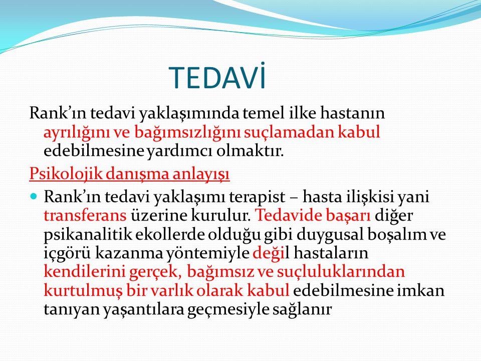 TEDAVİ Rank'ın tedavi yaklaşımında temel ilke hastanın ayrılığını ve bağımsızlığını suçlamadan kabul edebilmesine yardımcı olmaktır.
