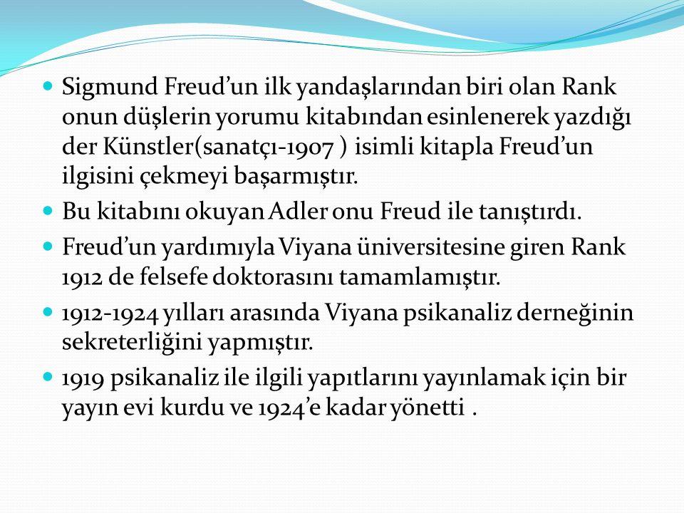 Sigmund Freud'un ilk yandaşlarından biri olan Rank onun düşlerin yorumu kitabından esinlenerek yazdığı der Künstler(sanatçı-1907 ) isimli kitapla Freud'un ilgisini çekmeyi başarmıştır.