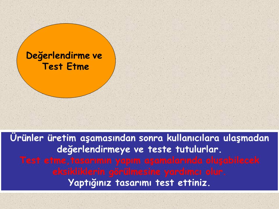 Değerlendirme ve Test Etme Ürünler üretim aşamasından sonra kullanıcılara ulaşmadan değerlendirmeye ve teste tutulurlar. Test etme,tasarımın yapım aşa