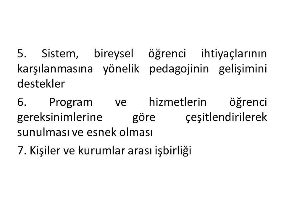 5. Sistem, bireysel öğrenci ihtiyaçlarının karşılanmasına yönelik pedagojinin gelişimini destekler 6. Program ve hizmetlerin öğrenci gereksinimlerine