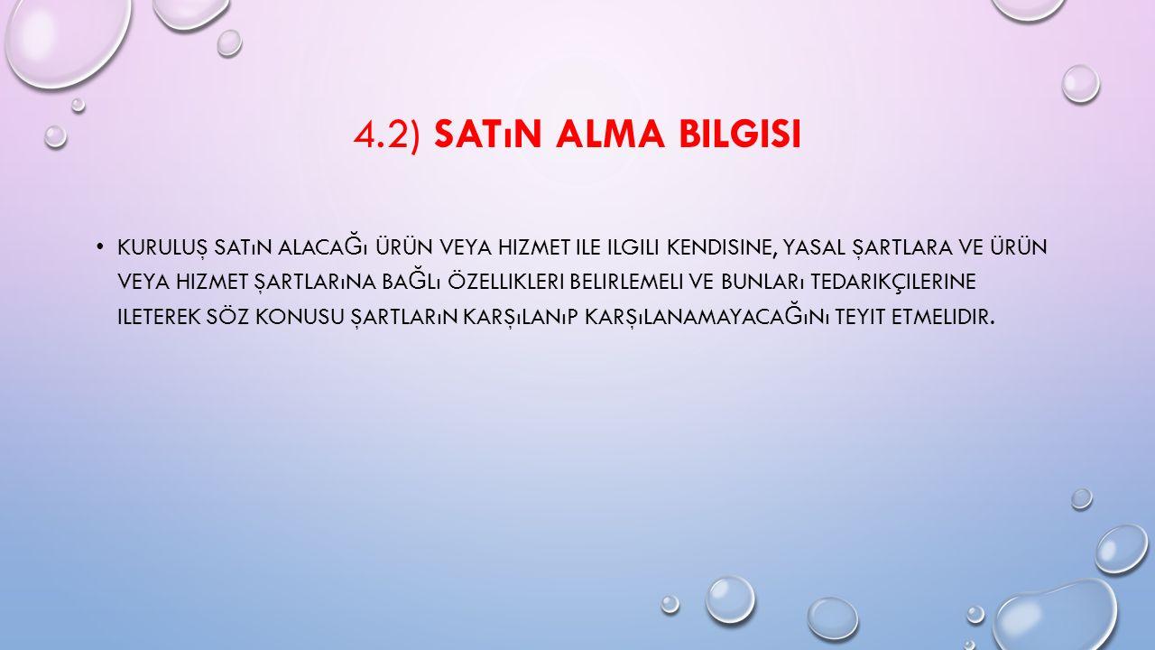 4.2) SATıN ALMA BILGISI KURULUŞ SATıN ALACA Ğ ı ÜRÜN VEYA HIZMET ILE ILGILI KENDISINE, YASAL ŞARTLARA VE ÜRÜN VEYA HIZMET ŞARTLARıNA BA Ğ Lı ÖZELLIKLE