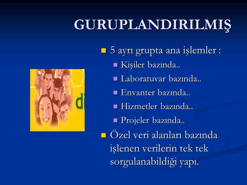 GURUPLANDIRILMIŞ 5 ayrı grupta ana işlemler : 5 ayrı grupta ana işlemler : Kişiler bazında..
