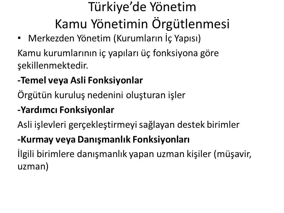 Türkiye'de Yönetim Kamu Yönetimin Örgütlenmesi Merkezden Yönetim (Kurumların İç Yapısı) Kamu kurumlarının iç yapıları üç fonksiyona göre şekillenmekte