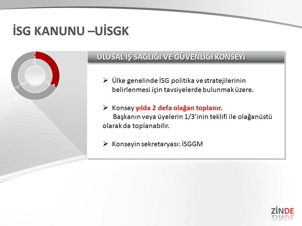  Ülke genelinde İSG politika ve stratejilerinin belirlenmesi için tavsiyelerde bulunmak üzere.