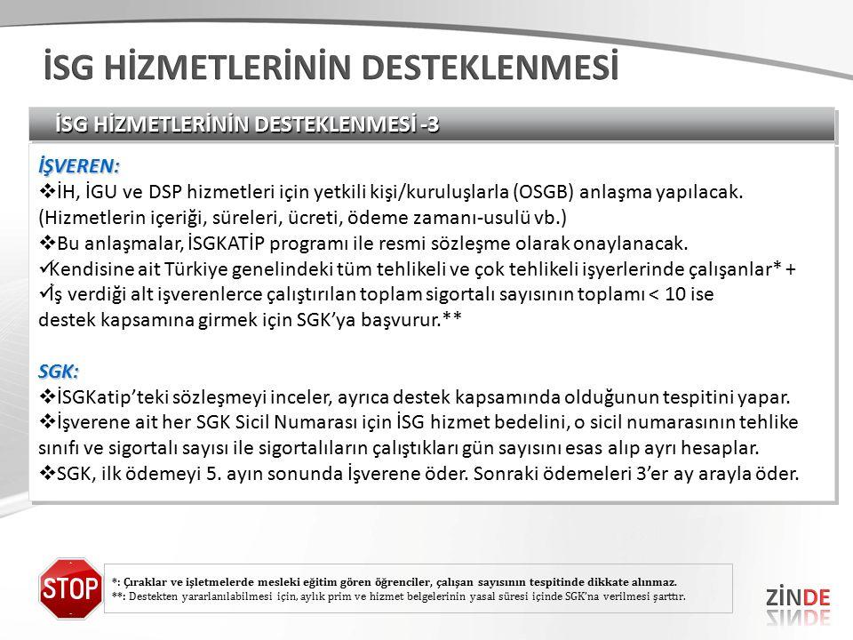 İSG HİZMETLERİNİN DESTEKLENMESİ -3 İŞVEREN:  İH, İGU ve DSP hizmetleri için yetkili kişi/kuruluşlarla (OSGB) anlaşma yapılacak.