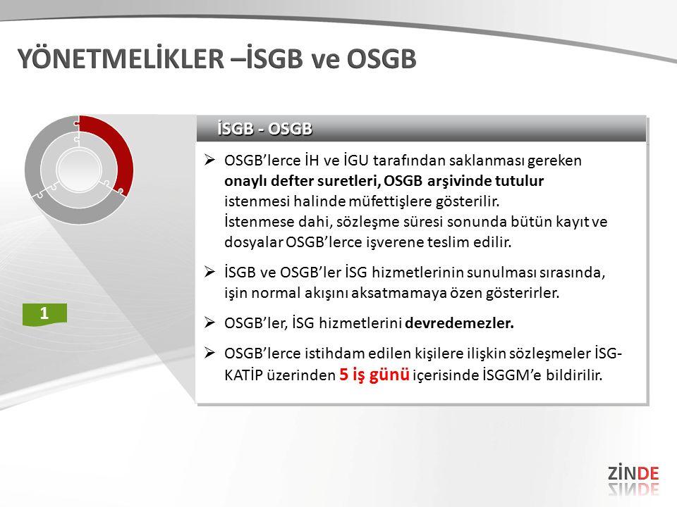 İSGB - OSGB  OSGB'lerce İH ve İGU tarafından saklanması gereken onaylı defter suretleri, OSGB arşivinde tutulur istenmesi halinde müfettişlere göster
