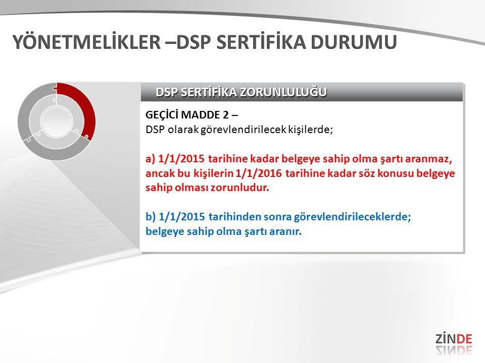 DSP SERTİFİKA ZORUNLULUĞU GEÇİCİ MADDE 2 – DSP olarak görevlendirilecek kişilerde; a) 1/1/2015 tarihine kadar belgeye sahip olma şartı aranmaz, ancak