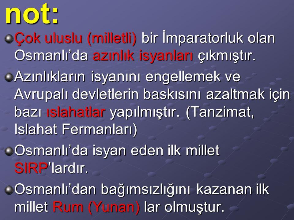 Çok uluslu (milletli) bir İmparatorluk olan Osmanlı'da azınlık isyanları çıkmıştır. Azınlıkların isyanını engellemek ve Avrupalı devletlerin baskısını
