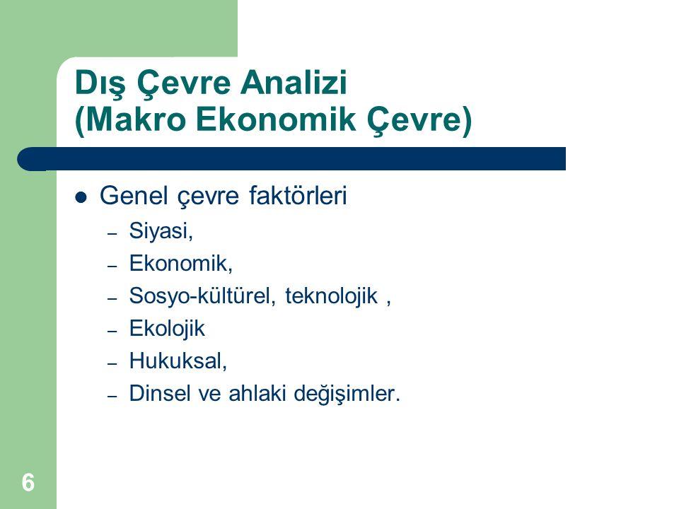 6 Dış Çevre Analizi (Makro Ekonomik Çevre) Genel çevre faktörleri – Siyasi, – Ekonomik, – Sosyo-kültürel, teknolojik, – Ekolojik – Hukuksal, – Dinsel