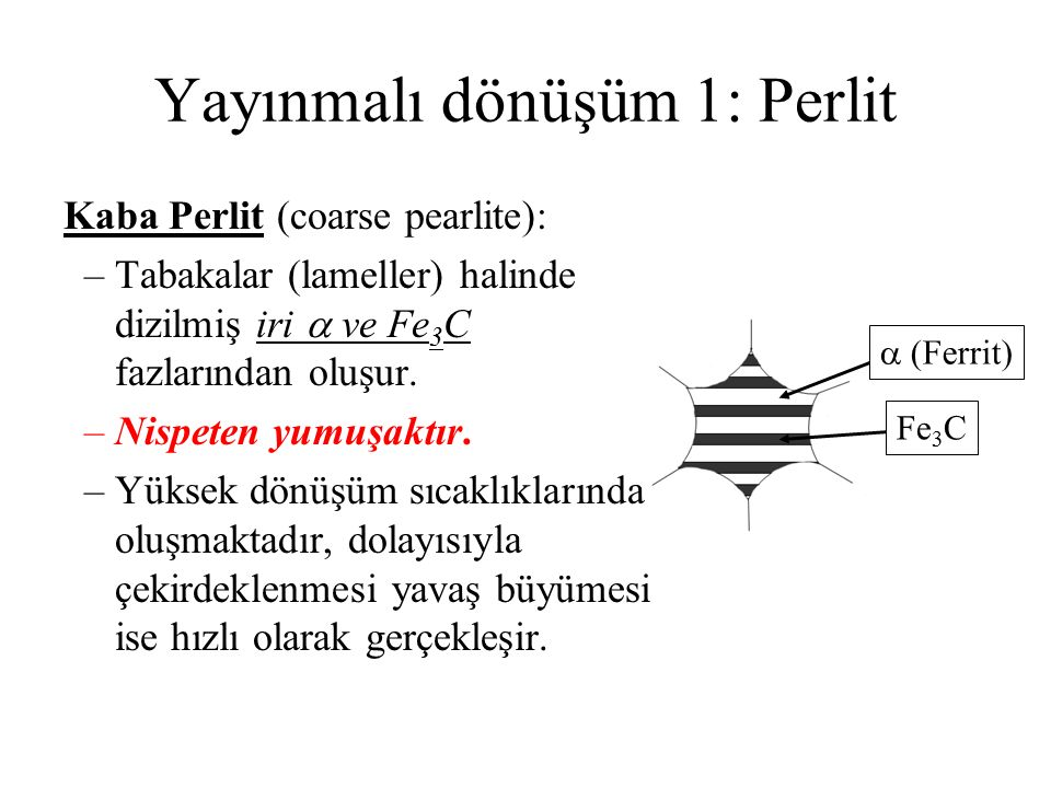 Yayınmalı dönüşüm 1: Perlit  (Ferrit) Fe 3 C Kaba Perlit (coarse pearlite): –Tabakalar (lameller) halinde dizilmiş iri  ve Fe 3 C fazlarından oluşur