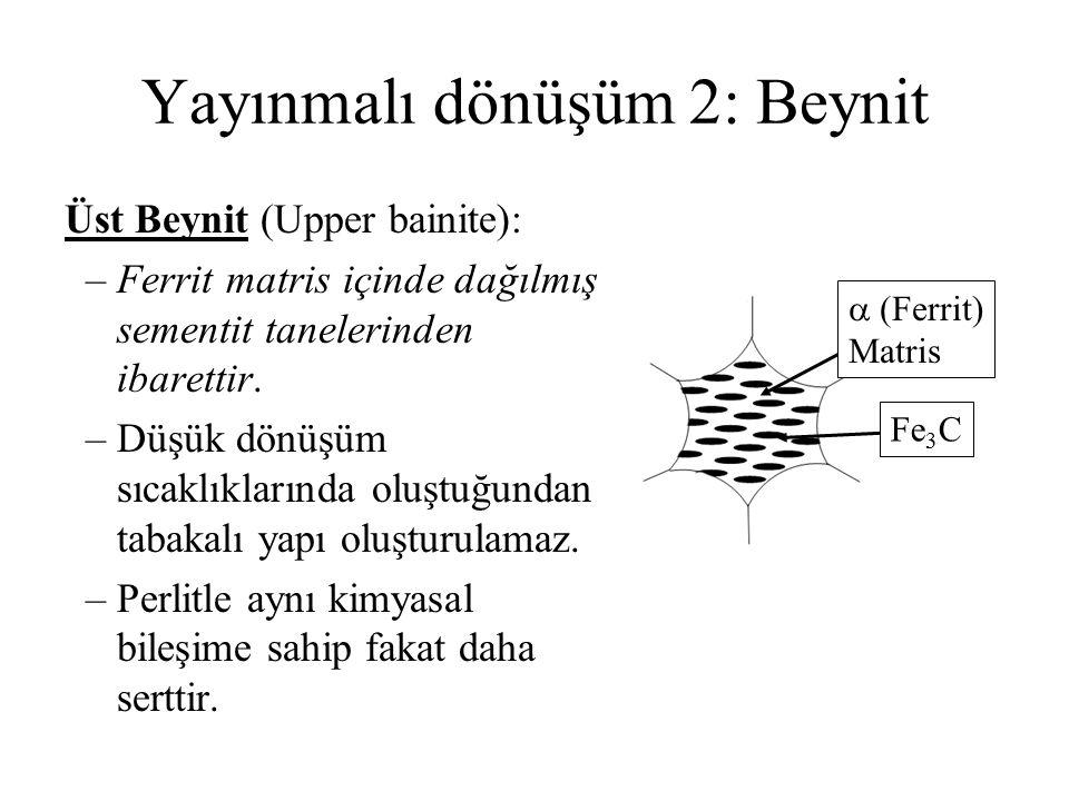 Yayınmalı dönüşüm 2: Beynit Üst Beynit (Upper bainite): –Ferrit matris içinde dağılmış sementit tanelerinden ibarettir. –Düşük dönüşüm sıcaklıklarında