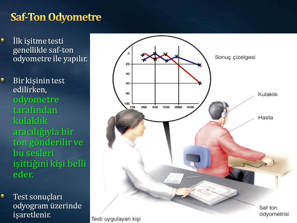İlk işitme testi genellikle saf-ton odyometre ile yapılır. Bir kişinin test edilirken, odyometre tarafından kulaklık aracılığıyla bir ton gönderilir v