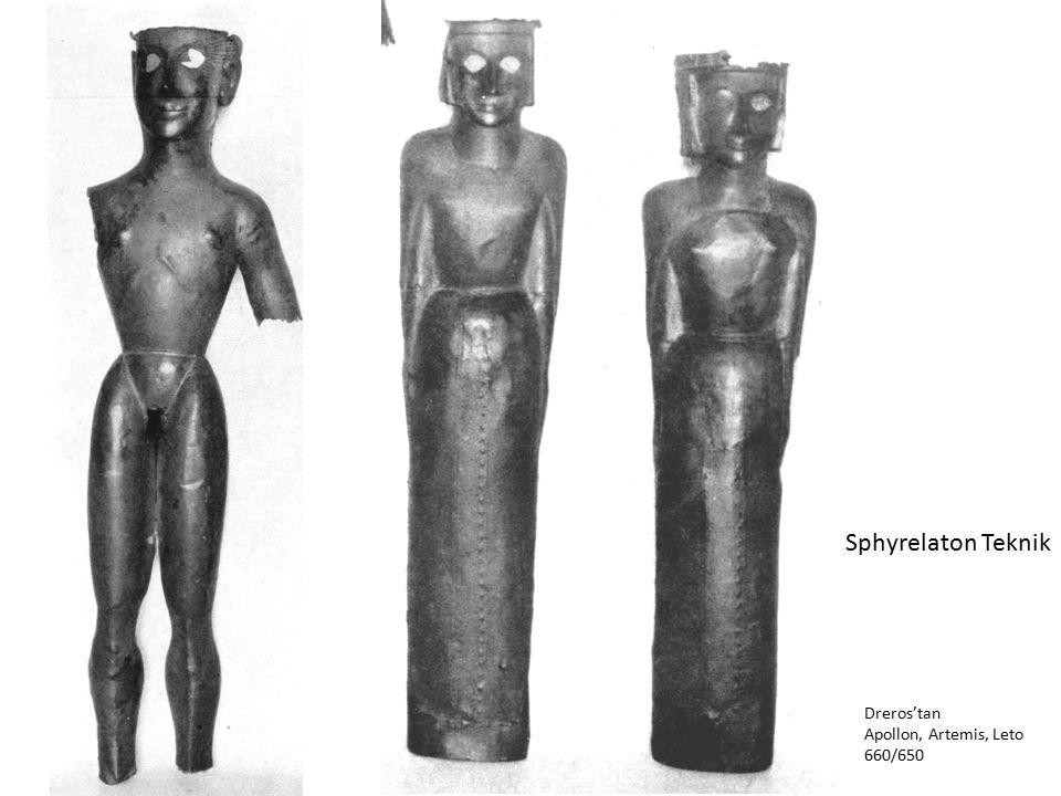 Dreros'tan Apollon, Artemis, Leto 660/650 Sphyrelaton Teknik