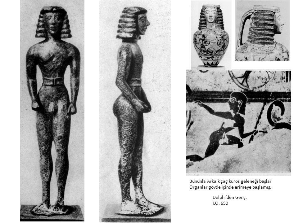 Delphi'den Genç. İ.Ö. 650 Bununla Arkaik çağ kuros geleneği başlar Organlar gövde içinde erimeye başlamış.