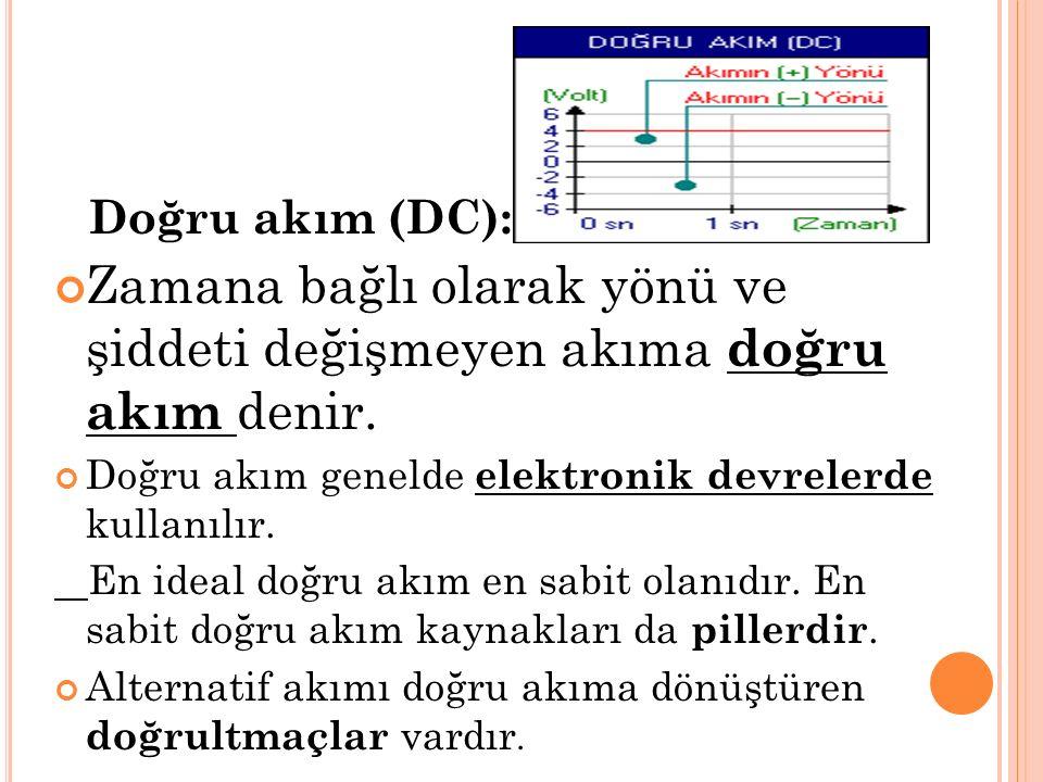 Doğru akım (DC): Zamana bağlı olarak yönü ve şiddeti değişmeyen akıma doğru akım denir. Doğru akım genelde elektronik devrelerde kullanılır. En ideal