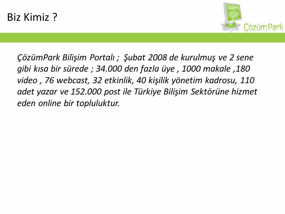 ÇözümPark Bilişim Portalı ; Şubat 2008 de kurulmuş ve 2 sene gibi kısa bir sürede ; 34.000 den fazla üye, 1000 makale,180 video, 76 webcast, 32 etkinlik, 40 kişilik yönetim kadrosu, 110 adet yazar ve 152.000 post ile Türkiye Bilişim Sektörüne hizmet eden online bir topluluktur.