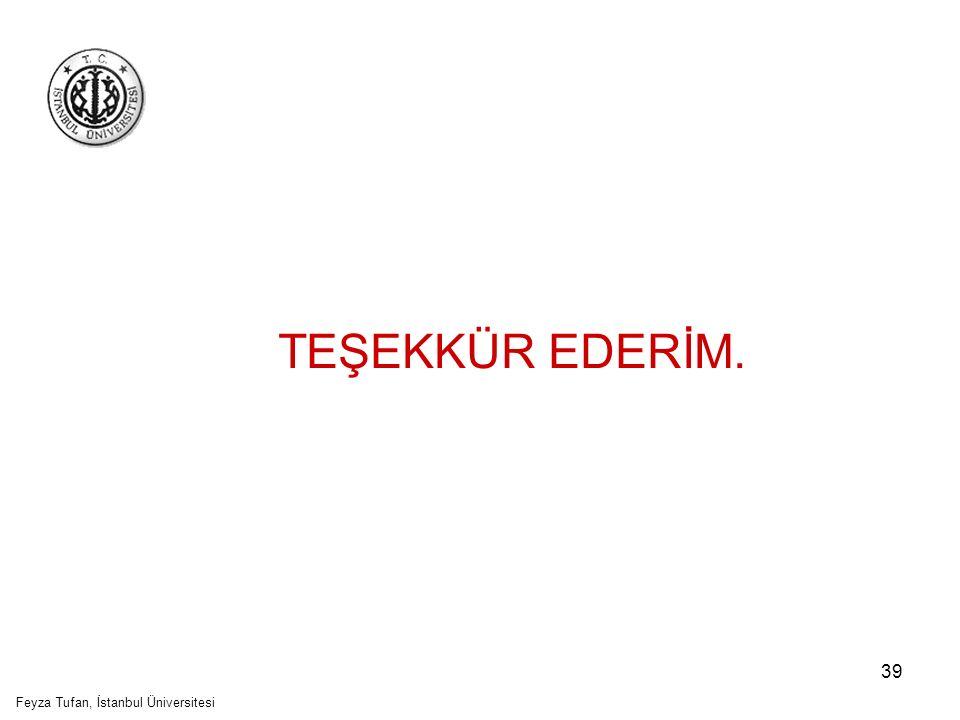 39 TEŞEKKÜR EDERİM. Feyza Tufan, İstanbul Üniversitesi