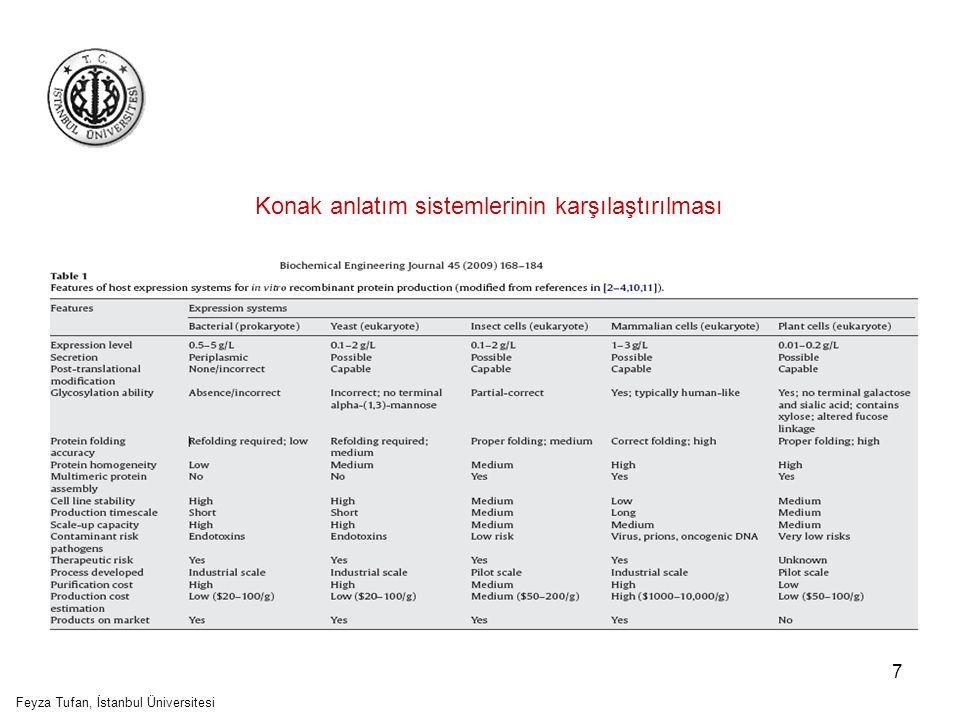 8 In vitro Bitki Materyalleri Fonksiyonel proteinlerin üretiminde kullanılma potansiyeli olan 3 ana tip in vitro bitki materyali vardır: –Süspansiyon hücreleri –Saçak kök –Shooty teratomalar Çoğunlukla hücre süspansiyon kültürleri kullanılmakta Feyza Tufan, İstanbul Üniversitesi