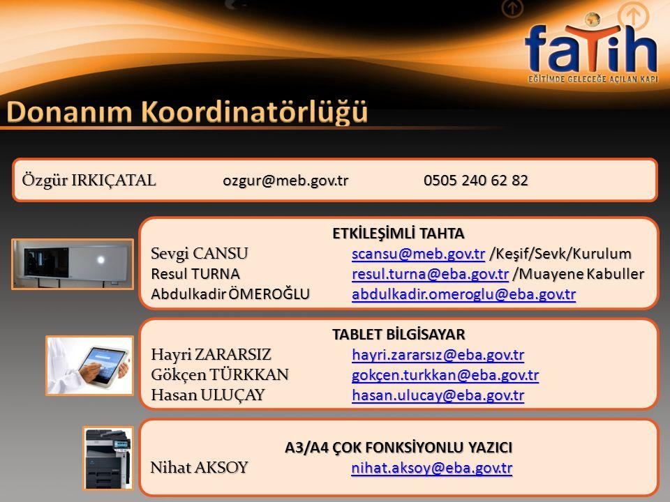 ETKİLEŞİMLİ TAHTA Sevgi CANSUscansu@meb.gov.tr /Keşif/Sevk/Kurulum scansu@meb.gov.tr Resul TURNAresul.turna@eba.gov.tr /Muayene Kabuller resul.turna@e