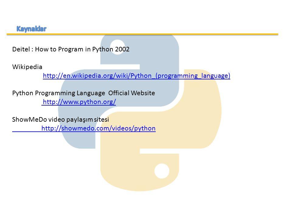 Deitel : How to Program in Python 2002 Wikipedia http://en.wikipedia.org/wiki/Python_(programming_language) Python Programming Language Official Websi