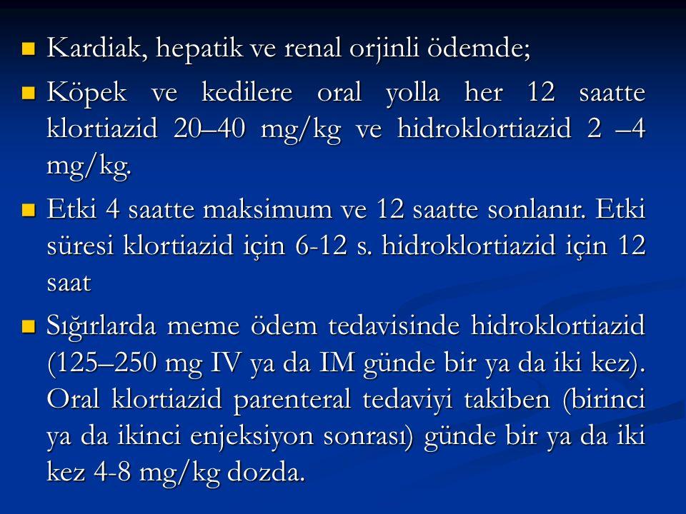 Kardiak, hepatik ve renal orjinli ödemde; Kardiak, hepatik ve renal orjinli ödemde; Köpek ve kedilere oral yolla her 12 saatte klortiazid 20–40 mg/kg