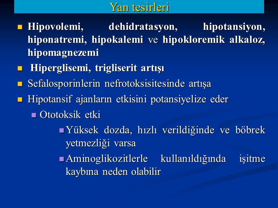 Hipovolemi, dehidratasyon, hipotansiyon, hiponatremi, hipokalemi ve hipokloremik alkaloz, hipomagnezemi Hipovolemi, dehidratasyon, hipotansiyon, hipon