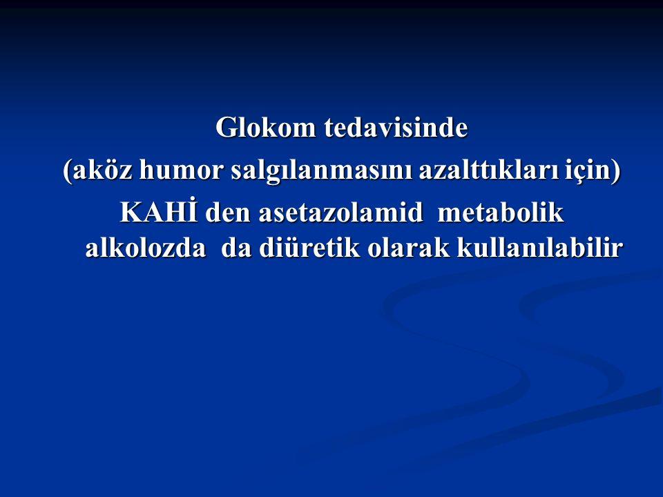 Glokom tedavisinde (aköz humor salgılanmasını azalttıkları için) KAHİ den asetazolamid metabolik alkolozda da diüretik olarak kullanılabilir