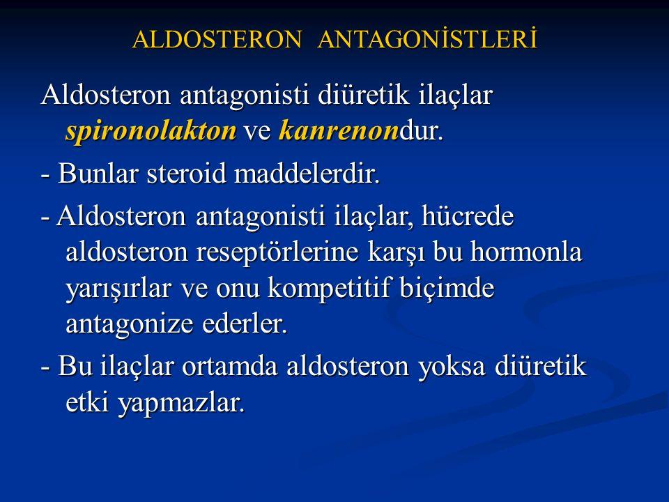 ALDOSTERON ANTAGONİSTLERİ Aldosteron antagonisti diüretik ilaçlar spironolakton ve kanrenondur. - Bunlar steroid maddelerdir. - Aldosteron antagonisti