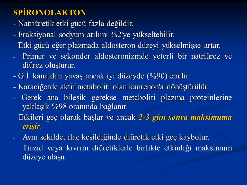 SPİRONOLAKTON - Natriüretik etki gücü fazla değildir. - Fraksiyonal sodyum atılımı %2'ye yükseltebilir. - Etki gücü eğer plazmada aldosteron düzeyi yü